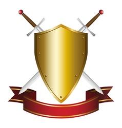 a shield and swords emblem vector image