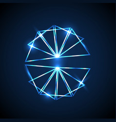 abstract background with blue neon triangles vector image vector image