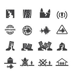 earthquake icons set vector image vector image