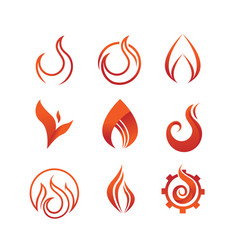 flame and fire symbol graphic design set vector image