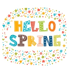 Hello spring card with decorative design elements vector image