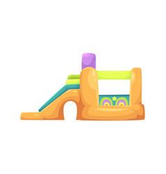inflatable bouncy castle in amusement park vector image