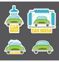 orange Car wash icons set vector image