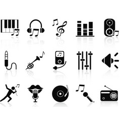 black music audio icons set vector image vector image