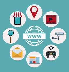 color background of logo world wide web with icons vector image