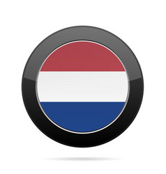 flag of netherlands shiny black round button vector image