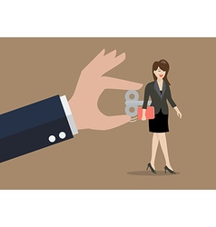 Hand turns on business woman with wind up key in vector image vector image
