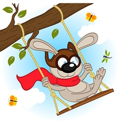 rabbit on swing on tree branch vector image