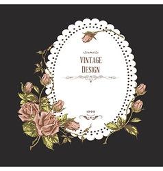 vintage card on dark background vector image