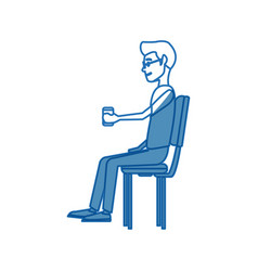 young man employee sitting with coffee cup time vector image