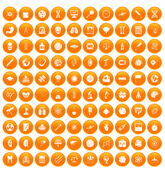 100 science icons set orange vector