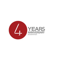 4 years anniversary logotype design with big red vector