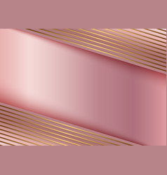 abstract golden line on stripes pink gold vector image