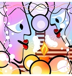 Abstract heads and candle Motley version vector image