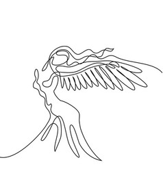 Abstract portrait angel woman with wings vector