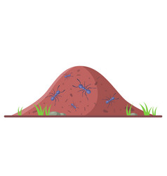 Anthill with small ants on a white background vector