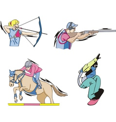 Archery Equestrian Shooting and Skateboarding vector