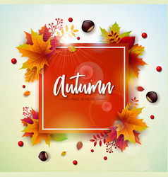 autumn with colorful falling leaves vector image