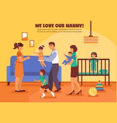 Babysitter background vector