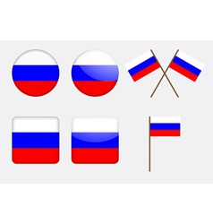 badges with Russian flag vector image