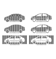 barcode car set design elements of car market vector image
