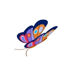 Blue butterfly icon isometric 3d style vector