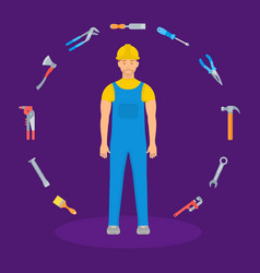 Builder and tools vector