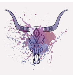 Bull skull with watercolor splash vector
