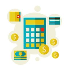 Calculator and money vector