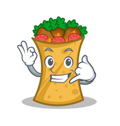 Call me kebab wrap character cartoon vector