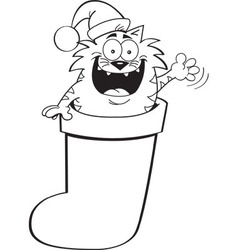 Cartoon cat inside a Christmas stocking vector image