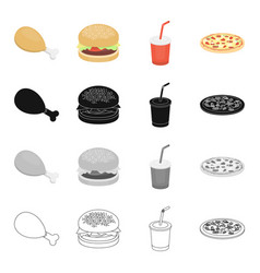 Chicken legs fast food burger cola in a glass vector
