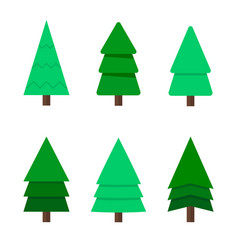 Christmas tree a set of six green christmas trees vector