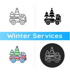 christmas tree delivery icon vector image