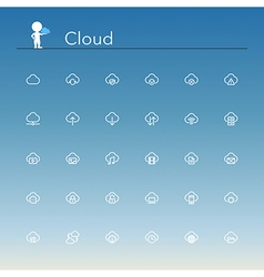 Cloud line icons vector