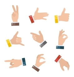 Collection empty hands showing different gestures vector
