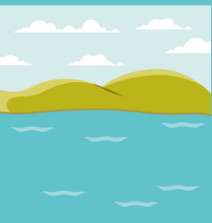 Color background lake landscape with mountains vector