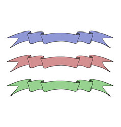 Colored ribbon banner hand drawn sketch vector
