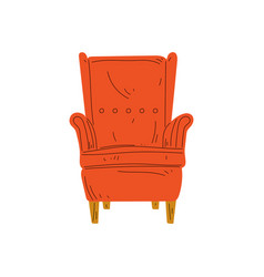 Comfortable orange red armchair cushioned vector
