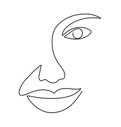 Continuous line drawing woman face abstract vector