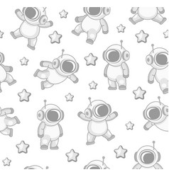 cute cosmonaut and stars seamless pattern vector image