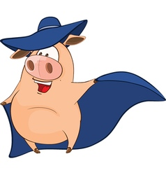 Cute Pig in Superhero Cartoon vector image