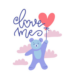 cute valentine teddy bear with red heart balloon vector image