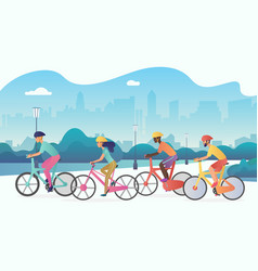 cyclists sport people riding bicycles in public vector image