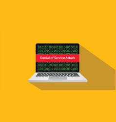 denial of service attack dos concept with laptop vector image