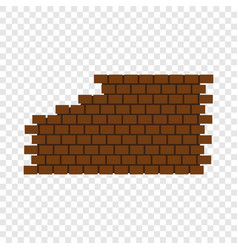 Destroyed brick wall icon flat style vector