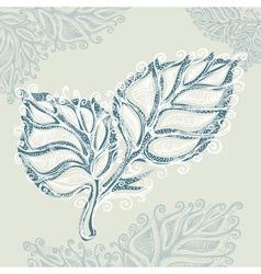 Doodle ink leaf pattern vector