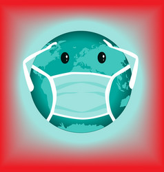 earth globe with medical mask to protect against vector image