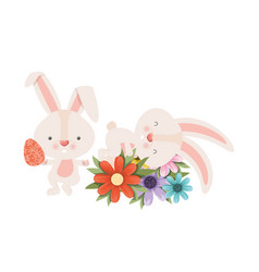 Easter bunnies with flowers isolated icon vector