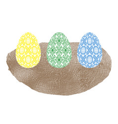 easter colored eggs and nest icon vector image